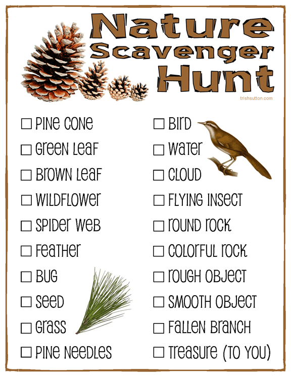 Nature Scavenger Hunt; Free Printable for kids